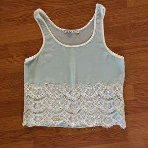 Chloe K Light Mint Green Tank Top with Lace